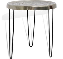 Silver Motif Tray Table Round Metal Side Table with Motif Design by Stylecraft