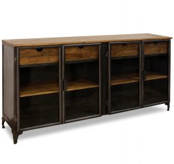 Graphite Iron and Solid Mango Four Door Sideboard w/ Four Drawers and Four Shelves by Stylecraft
