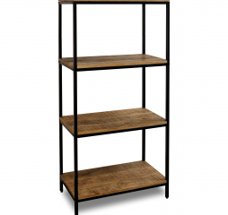 Chattercut Solid Mango Four Tier Display Shelf in a Black and Medium Natural Finish by Stylecraft