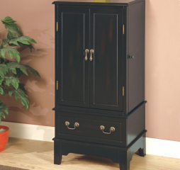 Transitional Black Five Drawer Jewelry Armoire by Coaster