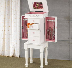 Traditional White Four Drawer Jewelry Armoire w/ Pink Interior by Coaster