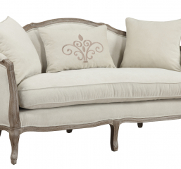Salerno Settee-Sand W2 Pillows & 1 Kidney Pillow by Emerald Home Furnishings
