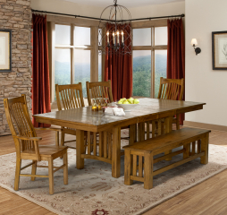 Laurelhurst 60″ Trestle Table w/ Two 16″ Leaves by A America
