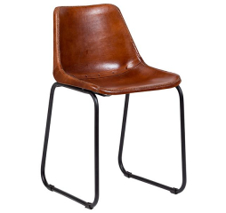 Mandela Brown Leather Dining Chair by Porter