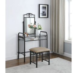 Brown and Dark Bronze Livingston One Shelf Vanity w/ Stool by Coaster