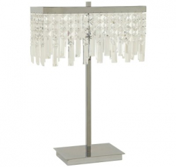 Transitional Chrome Dropped Crystal Shade Table Lamp by Coaster