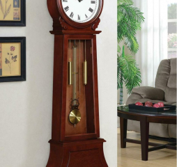 Brown Red Traditional Grandfather Clock w/ Chime by Coaster
