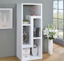 Contemporary White Convertible TV Console and Bookcase by Coaster