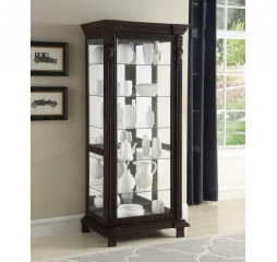 Clear Cappuccino Six Shelf Rectangular Curio Cabinet by Coaster