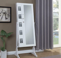 White Transitional Jewelry Cheval Mirror w/ Picture Frames by Coaster