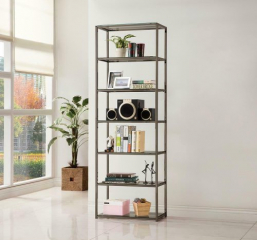 Contemporary Black Nickel Six Tier Bookcase by Coaster