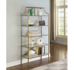 Matte Gold Five Tier Tempered Glass Shelf Bookcase by Coaster