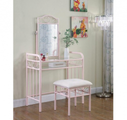 Powder Pink Massi One Shelf Vanity w/ Stool by Coaster