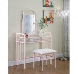 Powder Pink Massi One Shelf Vanity w/ Stool by Coaster