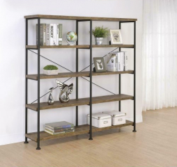 Analiese 4-Tier Bookcase Rustic Oak and Black by Coaster
