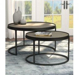 Weathered Elm Two Piece Round Nesting Tables by Coaster