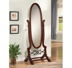 Traditional Oval Brown Red Cheval Mirror by Coaster