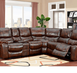 Ramsey Reclining Sectional in Cognac Leather
