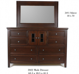 Monroe Kids Bedroom Mule Dresser w/ Eight Drawers and Two Glass Doors by North American Wood