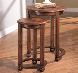 Traditional Warm Amber and Weathered Pine Two Piece Round Nesting Tables by Coaster