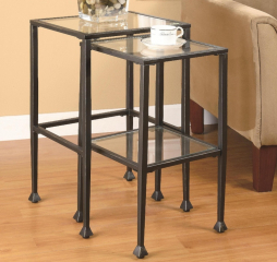 Transitional Black Two Piece Glass Top Nesting Tables by Coaster