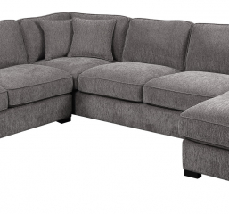 Repose Lsf Loveseat-Lsf Corner Sofa-Rsf Chaise W/4 Pillows-Charcoal by Emerald Home Furnishings