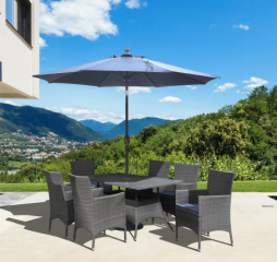 Ridgemonte Outdoor Rectangular Umbrella Dining Table by Emerald Furnishings