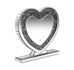 Silver Heart Shape Table Mirror by Coaster