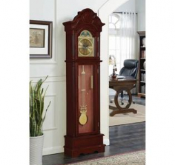 Traditional Brown Red and Clear Grandfather Clock by Coaster