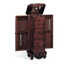 Traditional Six Drawer Brown Red Jewelry Armoire by Coaster