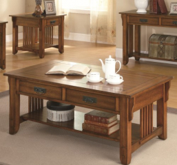 Two Drawer Coffee Table w/ Shelf by Coaster