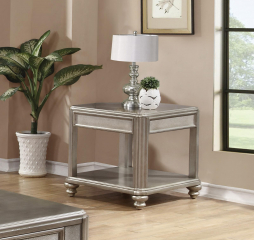 Metallic Platinum End Table with Shelf by Coaster