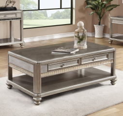 Metallic Platinum Coffee Table w/ Two Drawers by Coaster