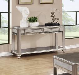 Metallic Platinum Sofa Table w/ Two Drawers by Coaster