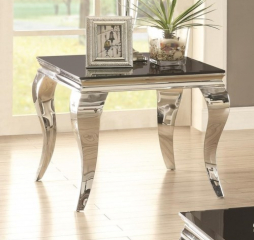 Glam End Table with Queen Anne Legs by Coaster