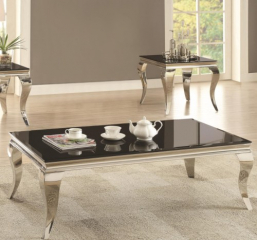 Glam Coffee Table with Queen Anne Legs by Coaster