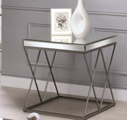 Contemporary Mirrored End Table with Metal Legs by Coaster