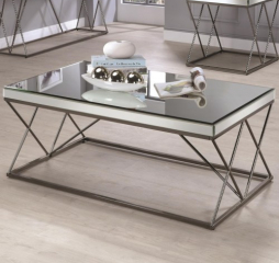 Contemporary Mirrored Coffee Table with Metal Legs by Coaster