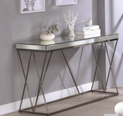 Contemporary Mirrored Sofa Table with Metal Legs by Coaster