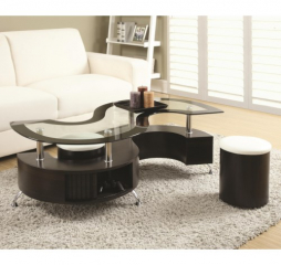 Coffee Table and Stool by Coaster