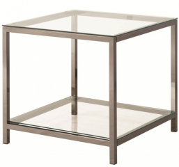 Black Nickel End Table with Shelf by Coaster