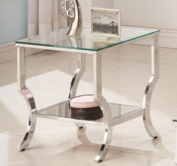 Tempered Glass Chrome End Table by Coaster