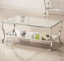 Metal Coffee Table with Glass Top and Mirrored Shelf by Coaster