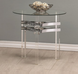 Contemporary Glass End Table with Chrome Base by Coaster