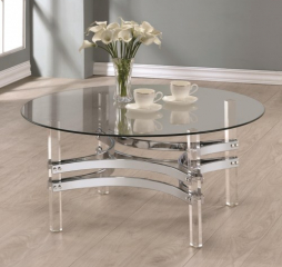Contemporary Glass Coffee Table with Acrylic Base by Coaster