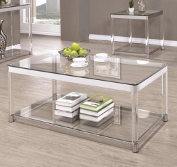 Contemporary Glass Top Coffee Table with Acrylic Legs by Coaster