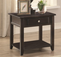 Square End Table with Drawer and Shelf by Coaster
