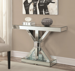 Accent Cabinets Thick Mirrored Console Table by Coaster