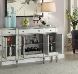 Accent Racks Mirror Panel Wine Cabinet with Removable Wine Rack by Coaster