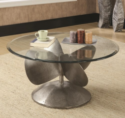 Industrial Coffee Table with Propeller Base by Coaster